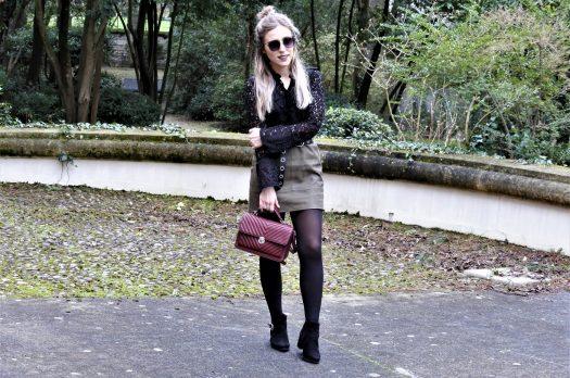LOOK n°134 : Jupe kaki & blouse dentelle